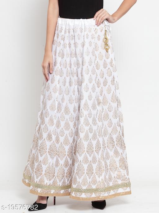 Clora White Embellished Rayon Flared Skirt