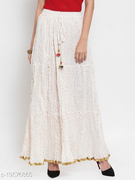 Clora White Bandhani Maxi Skirt