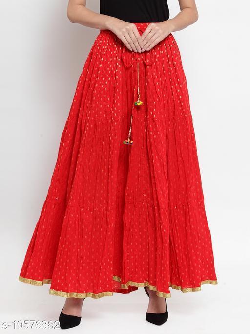 Clora Red Bandhani Maxi Skirt