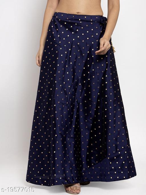 Clora Navy Blue Self Design Taffeta Skirt