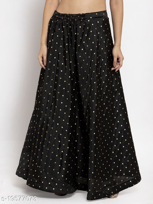 Clora Black Self Design Taffeta Skirt