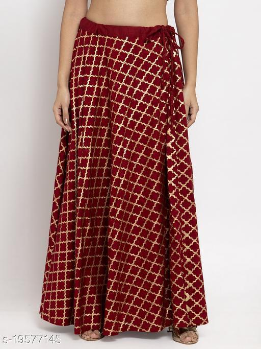Clora Maroon Printed Rayon Skirt