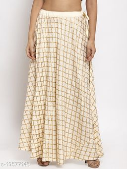 Clora Cream Printed Rayon Skirt