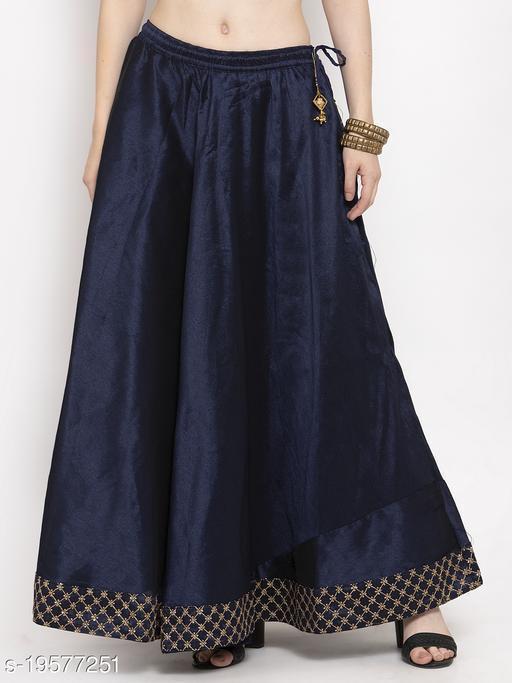 Clora Navy Blue Flared Embellished Skirt