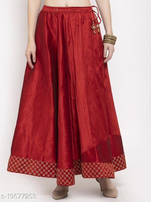Clora Maroon Flared Embellished Skirt
