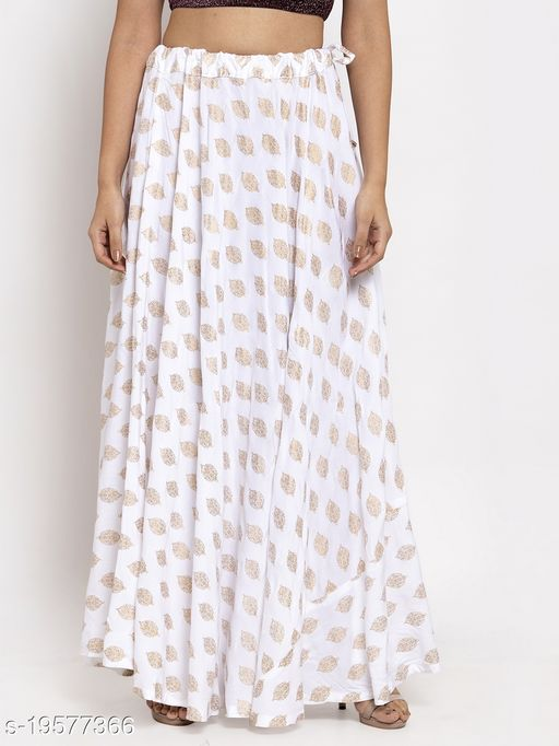 Clora White Printed Rayon Skirt