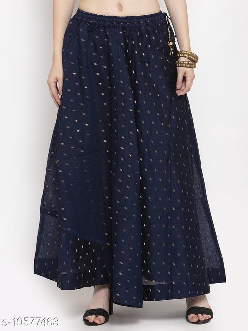Clora Navy Blue Zari Maxi Skirt