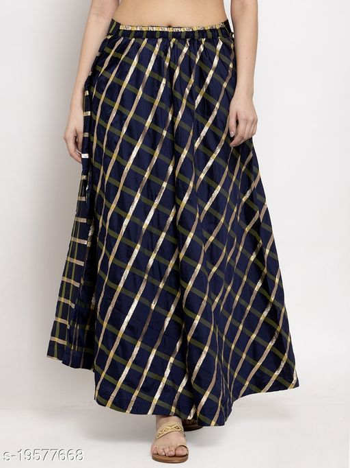 Clora Navy Blue Printed Maxi Skirt