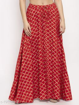 Clora Red Printed Rayon Skirt