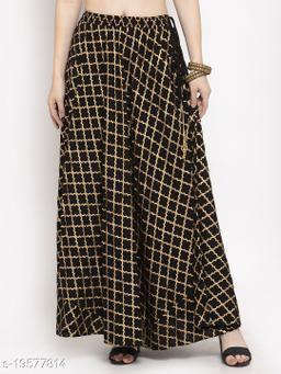 Clora Black Printed Rayon Skirt