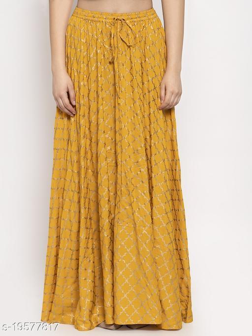 Clora Mustard Printed Rayon Skirt