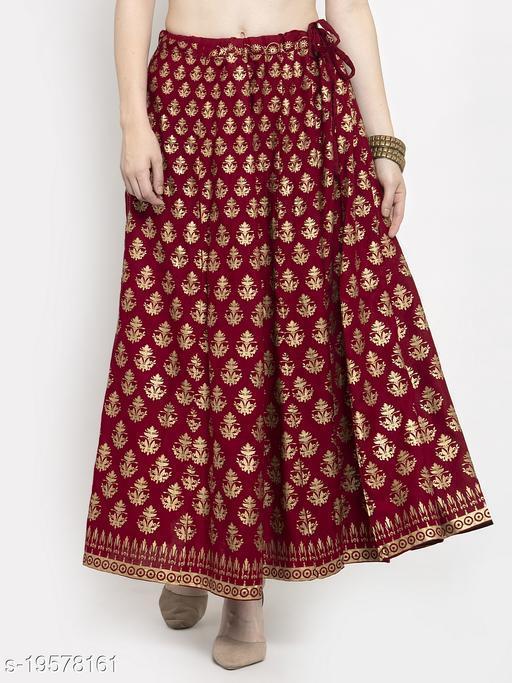 Clora Maroon Floral Printed Rayon Skirt
