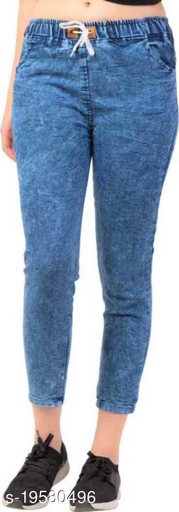 DNEXT Body Fit Stretchable Denim Jogger Jeans for Women and Girls Blue