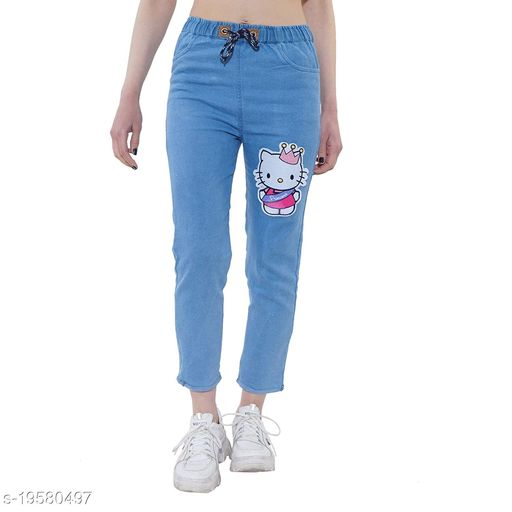 DNEXT Body Fit Stretchable Denim Jogger Jeans for Women and Girls Blue-Kitty
