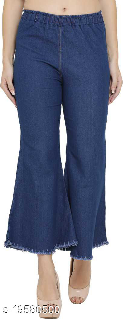 DNEXT Regular Fit Stretchable Denim Plazo for Women and Girls Blue