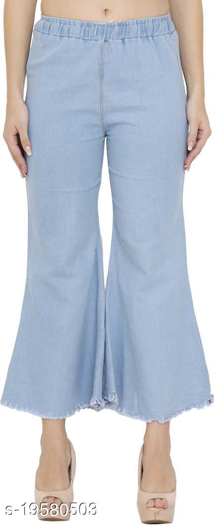 DNEXT Regular Fit Stretchable Denim Plazo for Women and Girls Light Blue