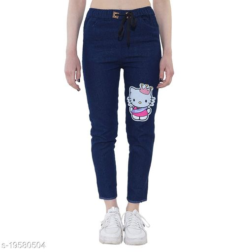 DNEXT Body Fit Stretchable Denim Jogger Jeans for Women and Girls Light Blue-Kitty