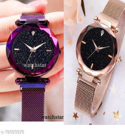Twinkling analog magnetic strap watches for Girls(pack of 2)