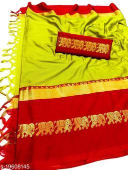 Rajawadi Elegant Elephant Design Cotton Silk Saree (Lemon & Red)