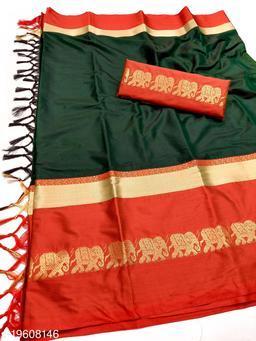 Rajawadi Elegant Elephant Design Cotton Silk Saree (Bottle Green & Red)