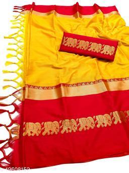 Rajawadi Elegant Elephant Design Cotton Silk Saree (Yellow & Red)