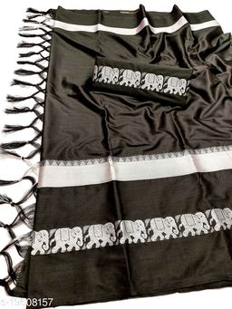 Rajawadi Elegant Elephant Design Cotton Silk Saree (Black & Silver)