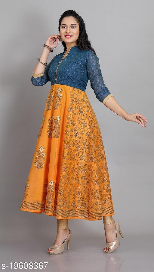 Chanderi Silk Womens Colourblocked Long Anarkali Kurti