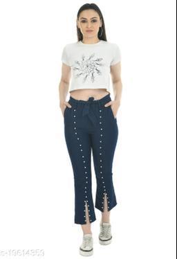 AG FASHION Women's Denim Moti Slit Cut Bell Bottom Jeans Free Size