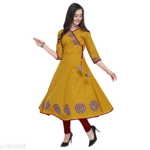 Women Cotton Slub Angrakha Printed Mustard Kurti