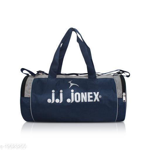 JJ JONEX FOLDABLE UNISEX CASUAL GYM BAG IN DUFFLE ROUND SHAPE (NAVY/GRAY)