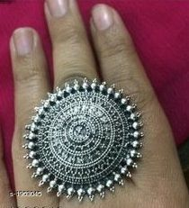 Oxidised Silver Trendy Oxidised Silver Embellished Women's Finger Ring