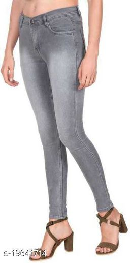 Spartacus2Fashion Women Slim Fit Grey Monkey Wash 1 Button Jeans (Pack of 1)