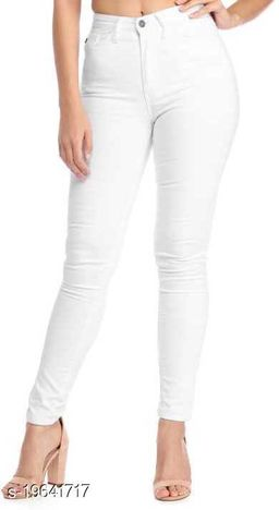 Spartacus2Fashion Women Slim Fit White 1 Button Jeans (Pack of 1)