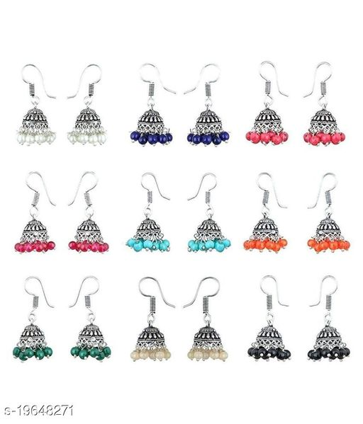 9Pairs Stylish Combo Lively Colors Golden Silver Oxidized Traditional Stud ChandBali Jhumki/Jhumka Earrings for Women and Girls