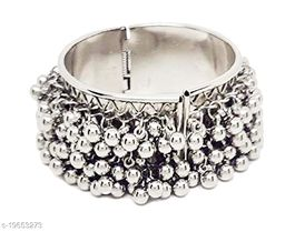 Silver Tone Adjustable Bangle Bracelet for Women Ethnic Jewelry with Ghungroo