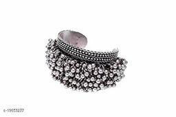German Silver ghungroo Cuff Bracelet Traditional kada Bangle for Women (1 pc) Tribal Jewelry, Oxidized Silver Jewelry,Statement German Silver Kada,Banjara,Boho, Jewelry