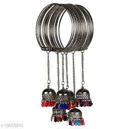 Metal Alloy and Jhumki Latkan Cuff Kada Bracelet for Women & Girls