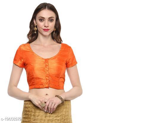 Dimpy Dupion Solid/Plain  Short Sleeve Orange Stitch Readymade Blouse For Saree And Lehenga Choli ( Length 38 Cm )