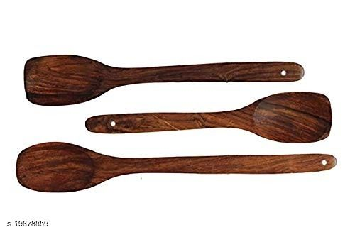 SHAH EMPORIUM Wooden Serving & Cooking Spoon Set of 3 [Sheesham Wood]