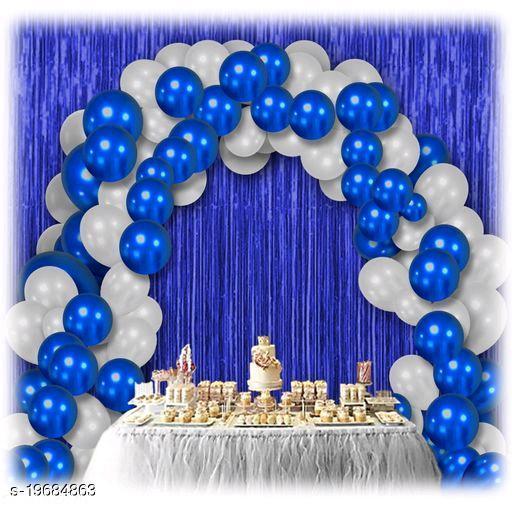 30pcs Metallic Blue, White Balloons Combo + 2pc Blue Fringe Curtains Decoration Combo(3*6.5feet)