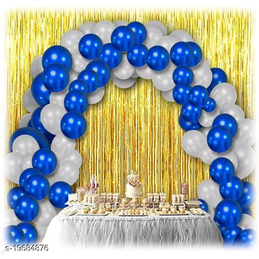 30pcs Metallic Blue, White Balloons Combo + 2pc Golden Fringe Curtains Decoration Combo(3*6.5feet)