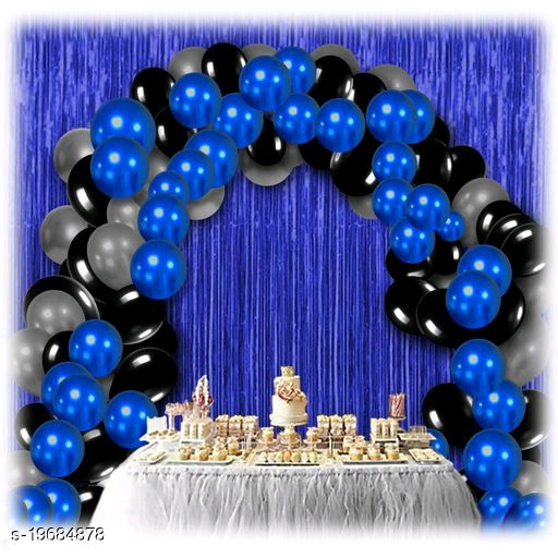 30pcs Metallic Blue, Black, Silver Balloons Combo + 2pc Blue Fringe Curtains Decoration Combo(3*6.5feet)