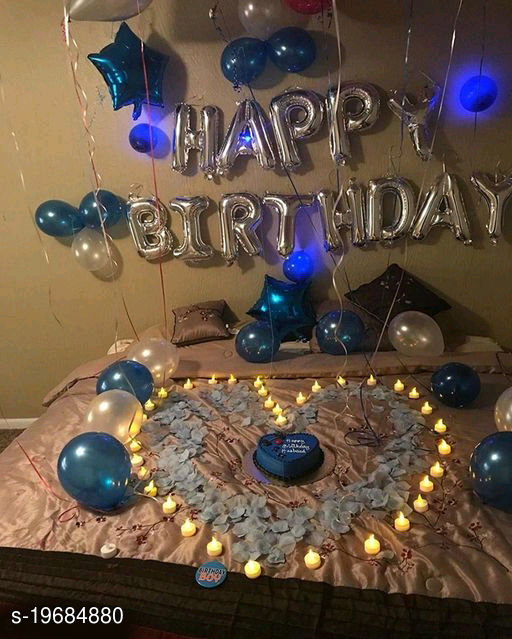 Happy Birthday Silver Letter Foil Balloons + 2pcs Blue Star Foil Balloons (10inch) + 30pcs Blue, Silver Balloons for Birthday Decoration