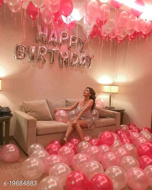 Happy Birthday Silver Letter Foil Balloons + 30pcs Red, White, Pink Balloons for Birthday Decoration