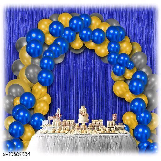 30pcs Metallic Blue, Golden, Silver Balloons Combo + 2pc Blue Fringe Curtains Decoration Combo(3*6.5feet)