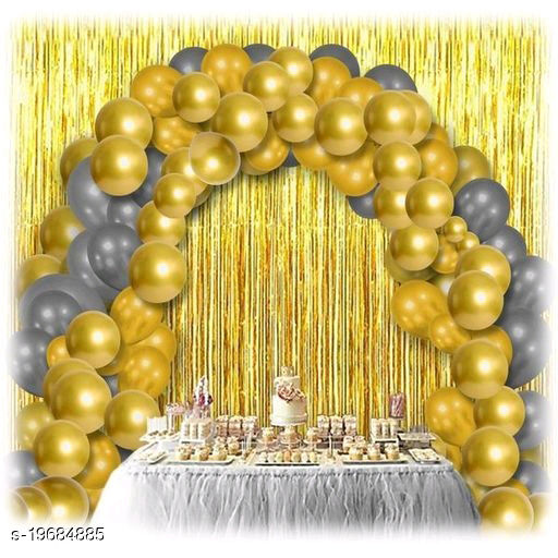 30pcs Metallic Golden, Silver Balloons Combo + 2pc Golden Fringe Curtains Decoration Combo(3*6.5feet)
