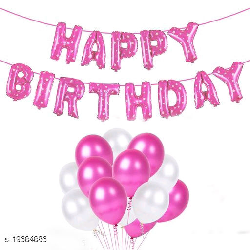 Happy Birthday Dotted Pink Letter Foil Balloons + 30pcs Pink, White Balloons for Birthday Decoration