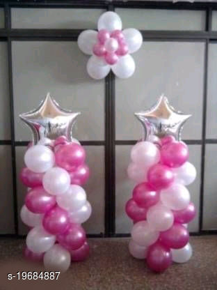 2pcs Silver Star Foil Balloons (10inch) + 50pcs Pink, White Metallic Balloons (10inch) for Birthday Decoration