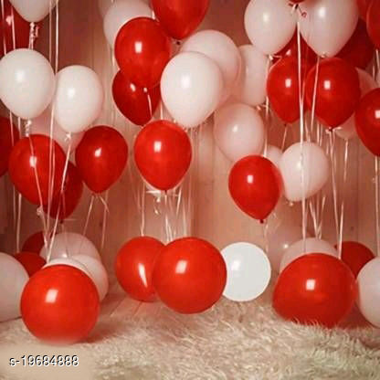 50pcs Red, White Metallic Balloons (10inch) for Birthday Decoration