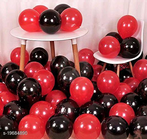50pcs Red, Black Metallic Balloons (10inch) for Birthday Decoration